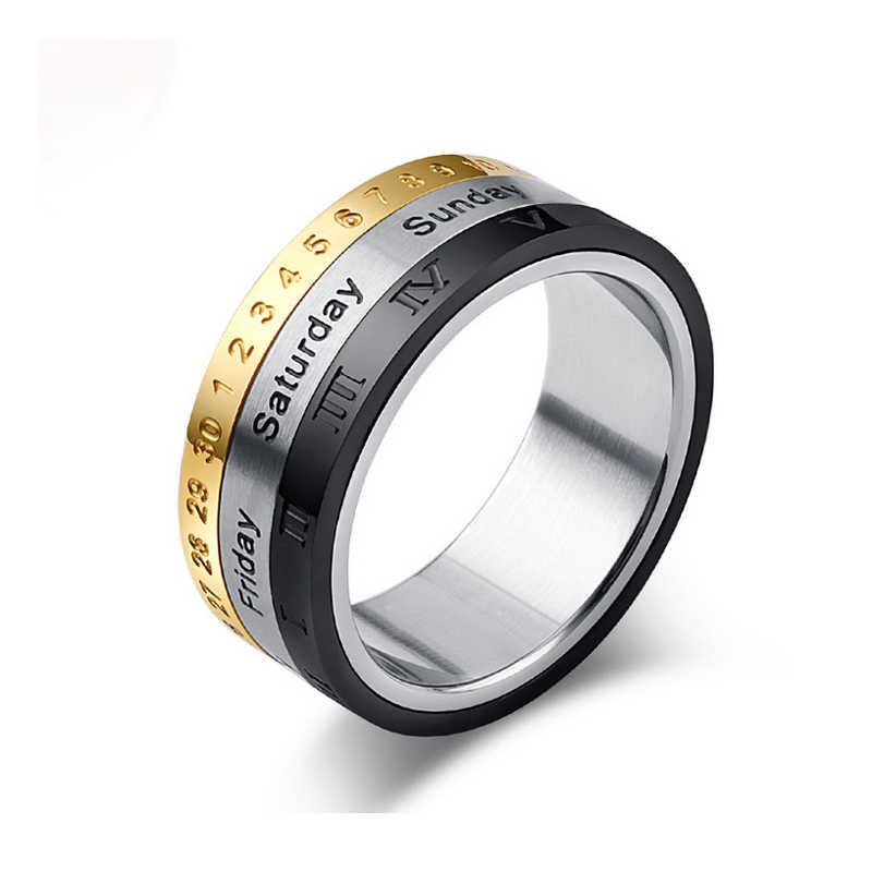 New Arrivals Can Choose Date And Week Rotating Rings For Men And Women Titanium Steel Top Quality Jewelry Three Color Mix Ring