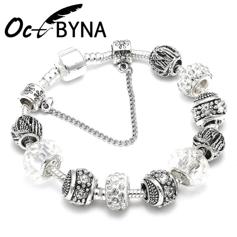 OCTBYNA Trendy Silver Plated Crystal Ball Beads Charm Bracelet & Bangles For Women Cuff Chain Brand Bracelet Best Friend