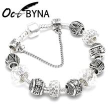 OCTBYNA, модный посеребренный браслет с хрустальными шариками и бусинами для женщин, Браслет-манжета на цепочке, брендовый браслет, лучший друг
