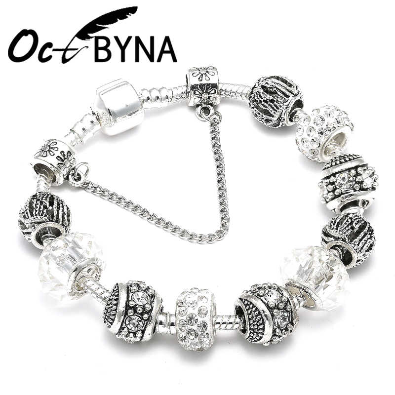 OCTBYNA Trendy Silver Plated Crystal Ball Beads Charm Bracelet & Bangles For Women Cuff Chain Brand Bracelet Best Friend
