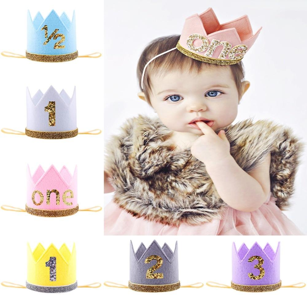 Baby Girl Boy Elastic Crown Headband Head Wrap Children Baby Hair Head Wear Gold Flower Crown Hair Band Birthday Party Gift