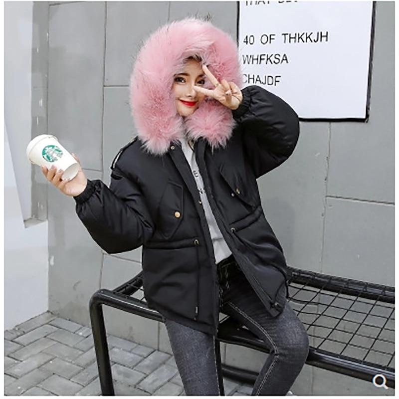 gray Femmes Pink white Épaisse À Plus La Black Coton Cordon Rose Manteau Chaud Fourrure Mujer pink Parkas Femelle Taille D'hiver Rembourré Grand Parka Fur black Capuchon Fur Veste Red 2018 Coréenne qwfFt