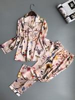 QWEEK Women Pajamas Satin Sleepwear Pijama Home Wear Silk Pyjama Home Suit Flower Print Sweet Cute
