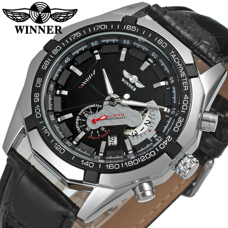 Classic Automatic Men Black Dial Genuine Leather Strap Small Second Hand Gift watch for businessman erkek