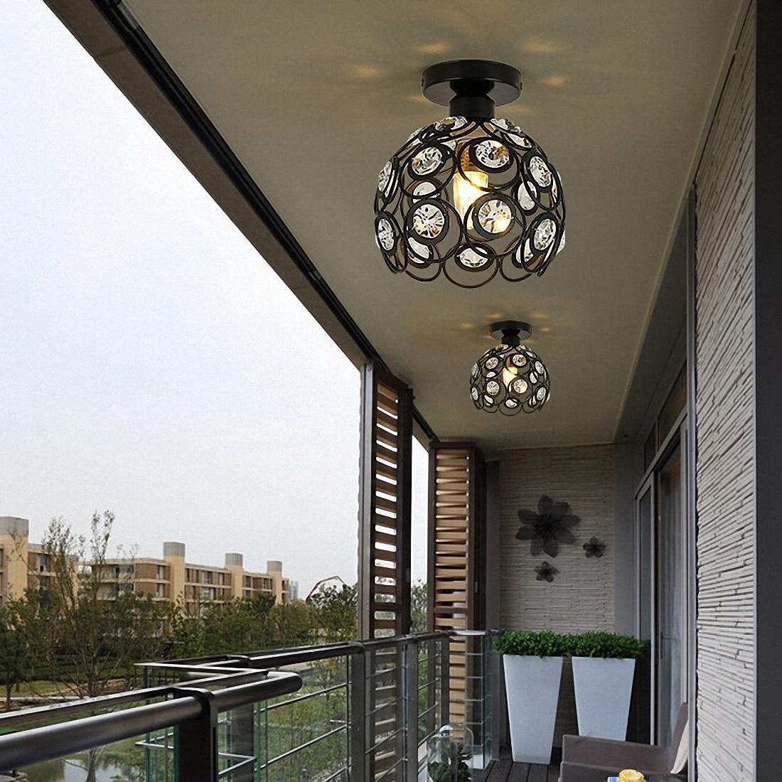 HTB1v9nDcFmWBuNjSspdq6zugXXaR E27 black Creative crystal minimalist ceiling light Single wall ceiling lamp bedroom lamp Single European iron lamp Crystal la