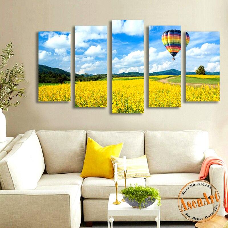 Modern Canvas Art 5pcs Yellow Flower Field Canvas Painting Landscape ...