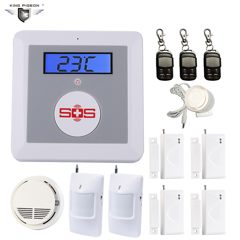 цена на GSM Security Alarm Senior Telecare Temperature Alarm Wireless PIR Sensor SM-100 Smoke Detector SOS Button Burglar Alarm K3H Kit