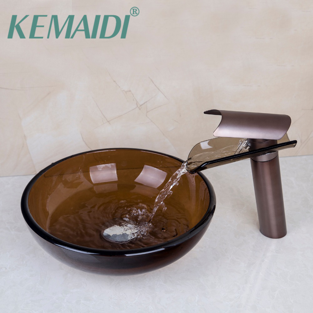 KEMAIDI Hand Paint Bowl Sinks / Vessel Basins Tempered Glass Sink With Waterfall Faucet Taps,Water Drain Bathroom Sink Set countertop basin sinks bathroom victory vessel washbasin tempered glass sink with chrome waterfall faucet sets
