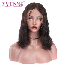 YVONNE 13x4 Body Wave Short BOB Lace Front Wigs Virgin Brazilian Human Hair Wig Natural Color(China)