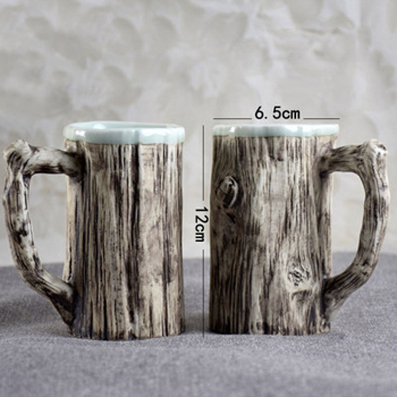 320ml 3D Creative Tree Stump Bark With Spoon Ceramic Mug Coffee Tea Milk Water Cup Drinkware Christmas Valentine 39 s Day Gift in Mugs from Home amp Garden