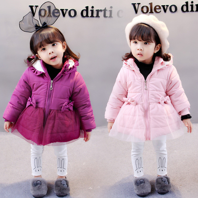1bbd639d03cc New fashion baby girls outerwear kid cotton Hooded coats Winter ...
