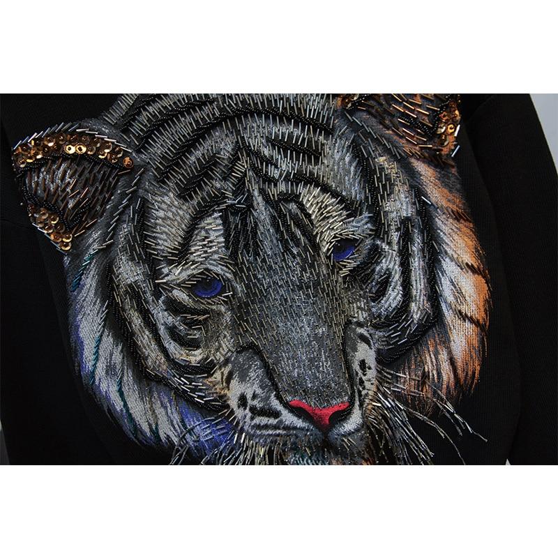 Mode Femmes Paillettes Pantalon Tigre Costume Manches Décontracté Tricoté Hiver Nouvelle Noir gris Longues Femelle Automne Chandail De 2018 5zASqxH