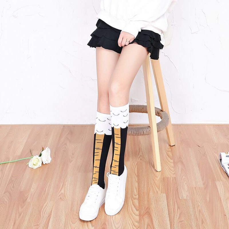 Chicken Feet Socks Women Long Knee Sock Winter Knee High Socks Female Cartoon Chicken Thigh High Long Socks Yellow  Black  Funny