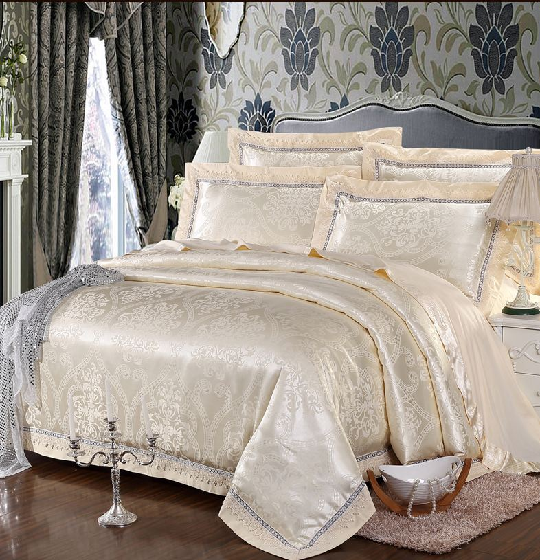 Beige Jacquard Satin Silk Bedding Set King Queen Size 4pcs