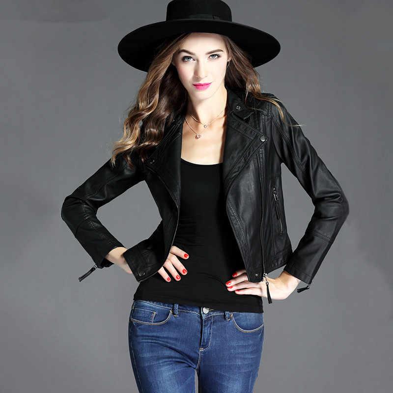 女性のレザージャケット女性春 2019 ストリート Pu レザーコート女性韓国ヴィンテージボンバージャケットチャケータ Mujer MY3089