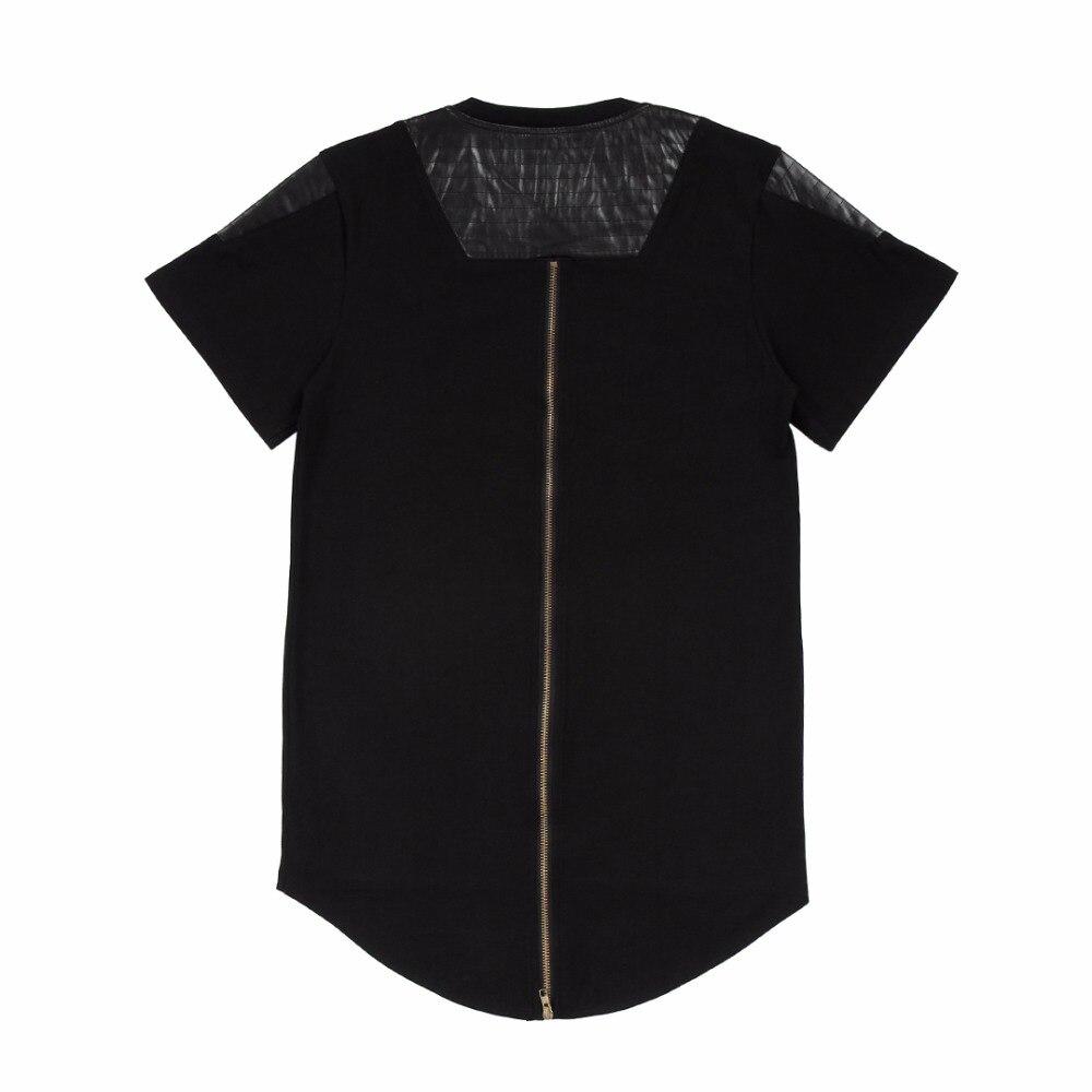 Black t shirt with zipper - Extend T Shirt Hip Hop T Shirt Long Back Gold Zipper Swag Cotton Tshirt Homme