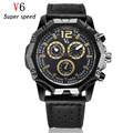 V6 luxury brand Military Watch Fashion Casual Watches Men Leather Strap Quartz Wristwatch Sport Men's Clock Male Xfcs Reloj 2016