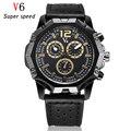 V6 luxury marca Assista Militar Moda Casual Relógios Pulseira de Couro Homens relógio de Pulso de Quartzo Relógio Dos Homens do Esporte Masculino Reloj Xfcs 2016