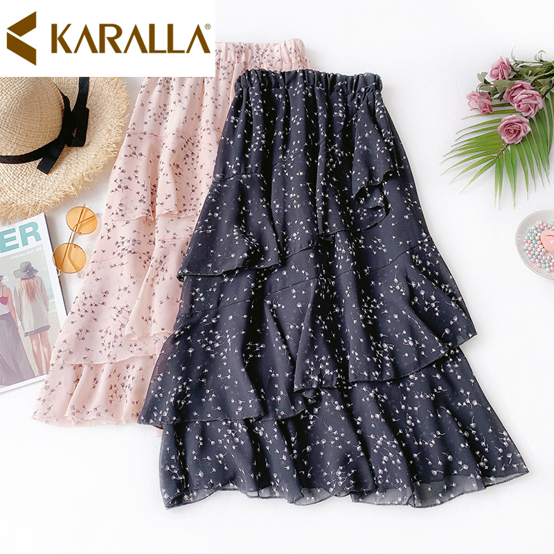 Classic Floral Print Skirt Women High Waist Slim Ruffles Mermaid Skirt Elegant Ladies Chiffon Skirt C864