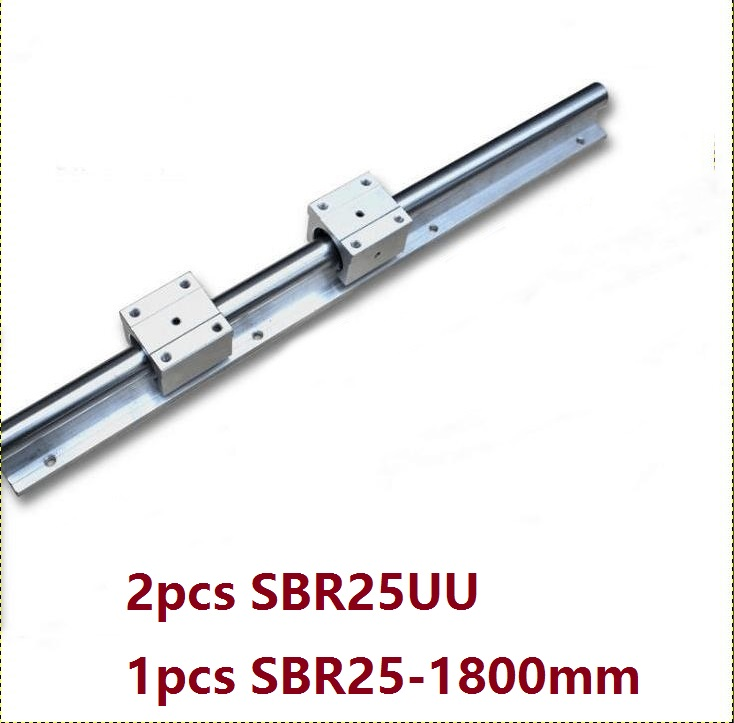 1pcs SBR25 - 1800mm linear rail support guide + 2pcs SBR25UU linear bearing blocks1pcs SBR25 - 1800mm linear rail support guide + 2pcs SBR25UU linear bearing blocks