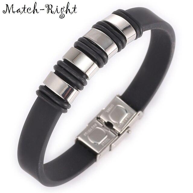 Match-Right Men's Leather Bracelets Metal Bracelet Cuff for Men Stainless Steel Bracelets Bangles Men's Wristband BR022