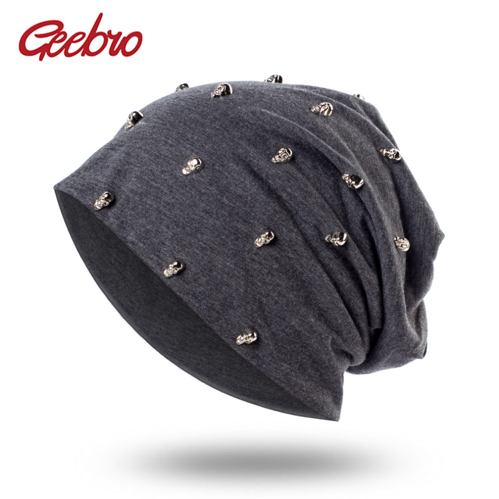 Geebro Women's Skullies Beanies Hat Spring Casual Cotton Beanie Hats for Women Ladies Hip-hop Style Skullies Hat Knitted Caps