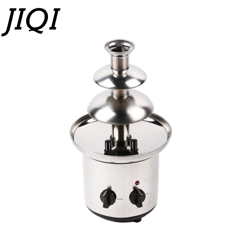 JIQI 3 tiers Chocolate Fountains Fondue Maker Wedding Birthday Christmas Stainless Steel Melt Waterfall Machine Party 110V 220V 220v 3 layers household mini stainless steel chocolate fountains machine chocolate waterfall maker machine for family party