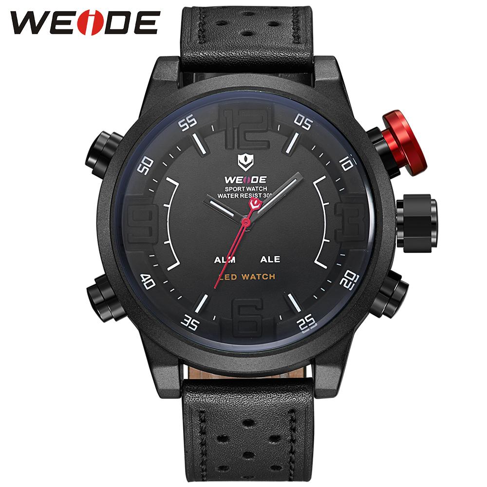 Prix pour Marque weide nouveaux hommes casual montre avec le japon quartz analogique numérique étanche relogio masculino bracelet en cuir montres pour hommes