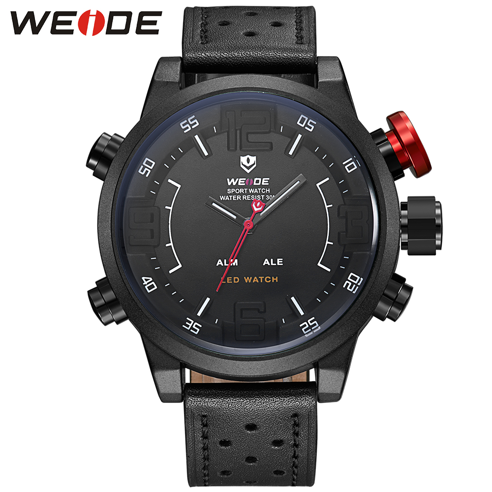 WEIDE Men Casual Watch With Japan Quartz Analog LED Digital Relogio Masculino Leather Strap Buckle Date Alarm Watches For Men weide casual luxury genuin new watch men quartz digital date alarm waterproof clock relojes double display multiple time zone