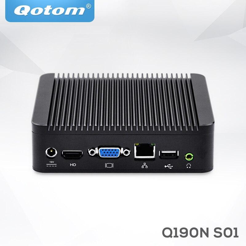 QOTOM Mini PC Bay Trail J1900 Quad Core 2.0 GHz Up To 2.42 GHz Running 24/7 Fanless Mini PC Linux