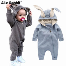 New Spring Autumn Baby Rompers Cute Cartoon Rabbit Infant Girl Boy Jumpers Kids Baby Outfits Clothes cheap Full Solid Unisex Pullover 201816 Fits true to size take your normal size Hooded Cotton AiLe Rabbit Cotton 100 neutral