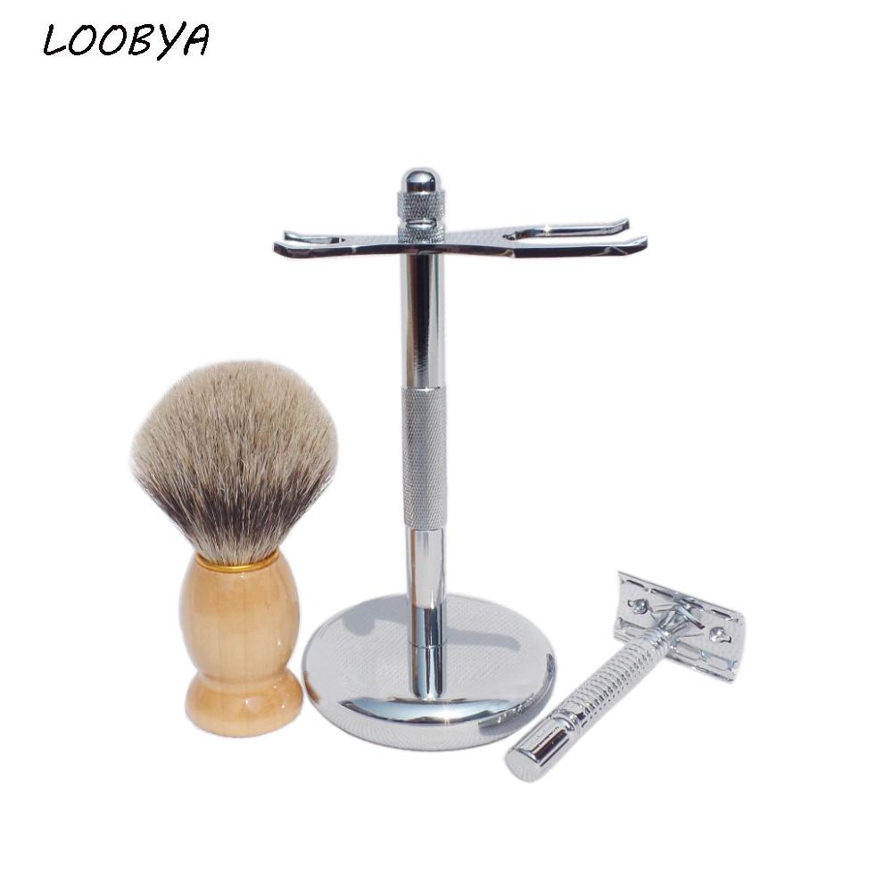 Mens Badger Shaving Brush Stand Razor Holder and Double-Head Safety Straight Razor mens badger shaving brush stand razor holder and double head safety straight razor