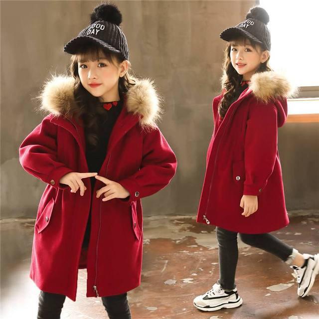 b8f71ae5baa3 2019 Fall Winter Kids Girls Cotton Warm Woolen Coat Children Thick ...