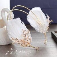 Gold Color And Pearls Feather Wedding Headband Hair Vine Bridal Headpiece Hair Accessories Headdress Gl 024