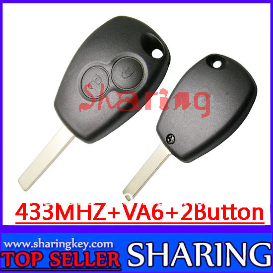 Free Shipping (5pcs/lot )  2 Button Remote Key Round Button With Pcf7947  For Renault