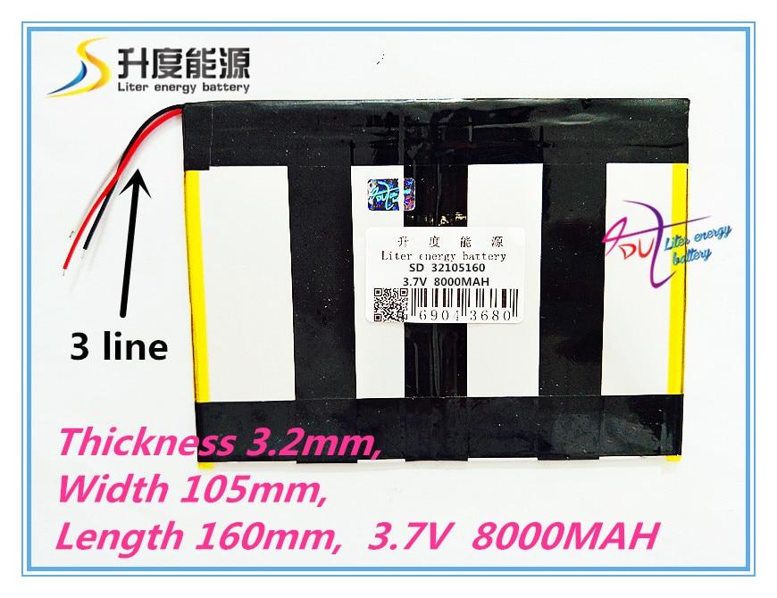 3 line 32105160 3.7V,8000mAH, LIIB (polymer lithium ion battery / ) Li-ion battery for tablet pc; V971,V972 quad core shun core 2500mah 605060 3 7v story learning hine flash shoe lithium polymer battery 654958