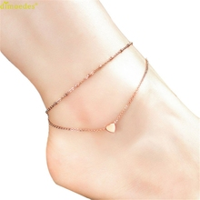 Diomedes Newest Gorgeous Women Anklet Elegant Double Chain Heart Bead Anklet Beach Foot Jewelry Imitation Pearl Chain Anklet