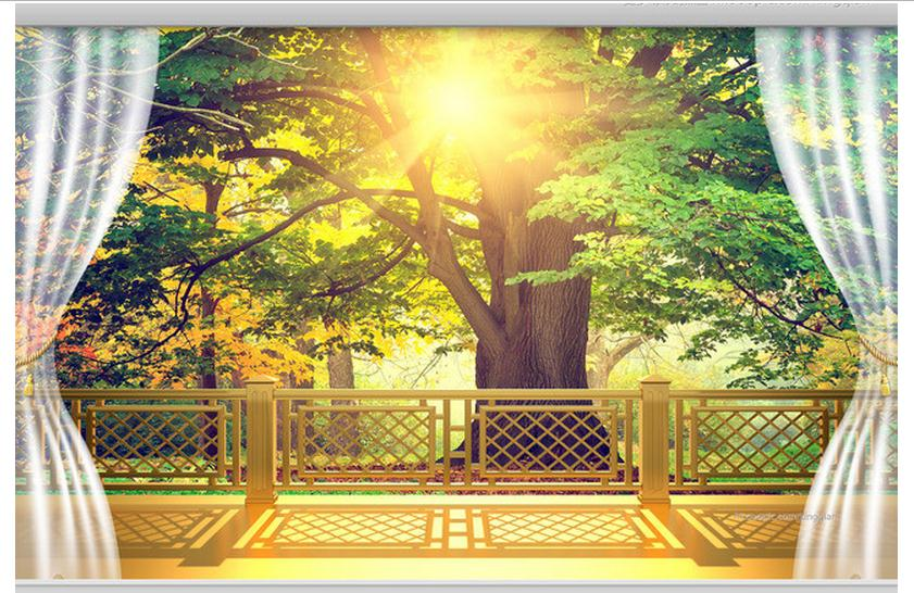 1e3e8d212 3D خلفية مخصصة جدارية 2015 جديد الذهبي أشعة الشمس 3 d التلفزيون جدار  الإعداد شرفة أشجار الجمال غير المنسوجة ورق حائط غرفة الديكور
