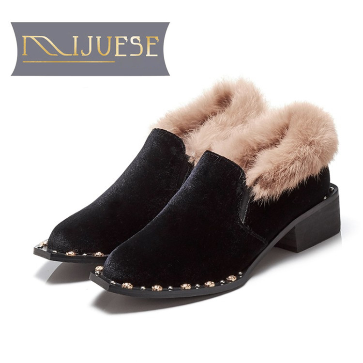 MLJUESE 2018 women flats rabbit hair black color slip on rivet fur pointed toe spring comfortable loafers women shoes warm flats цена