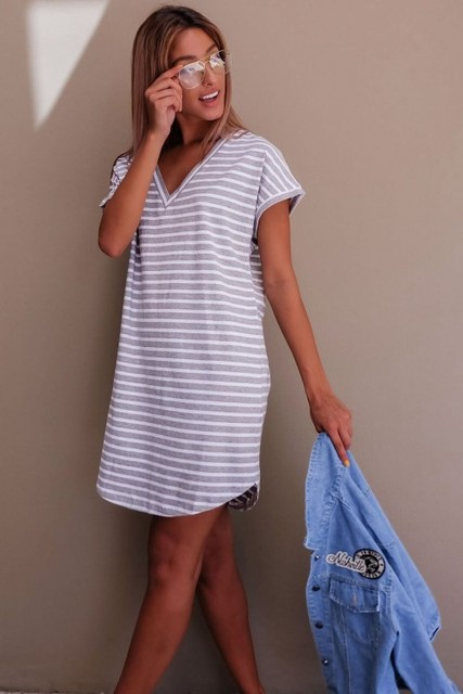 Casual Striped Dress V Neck Sexy Women Cotton Straight Long T Shirt Top Tee Boho vestido Summer Style Beach Wear Preppy Desses  2