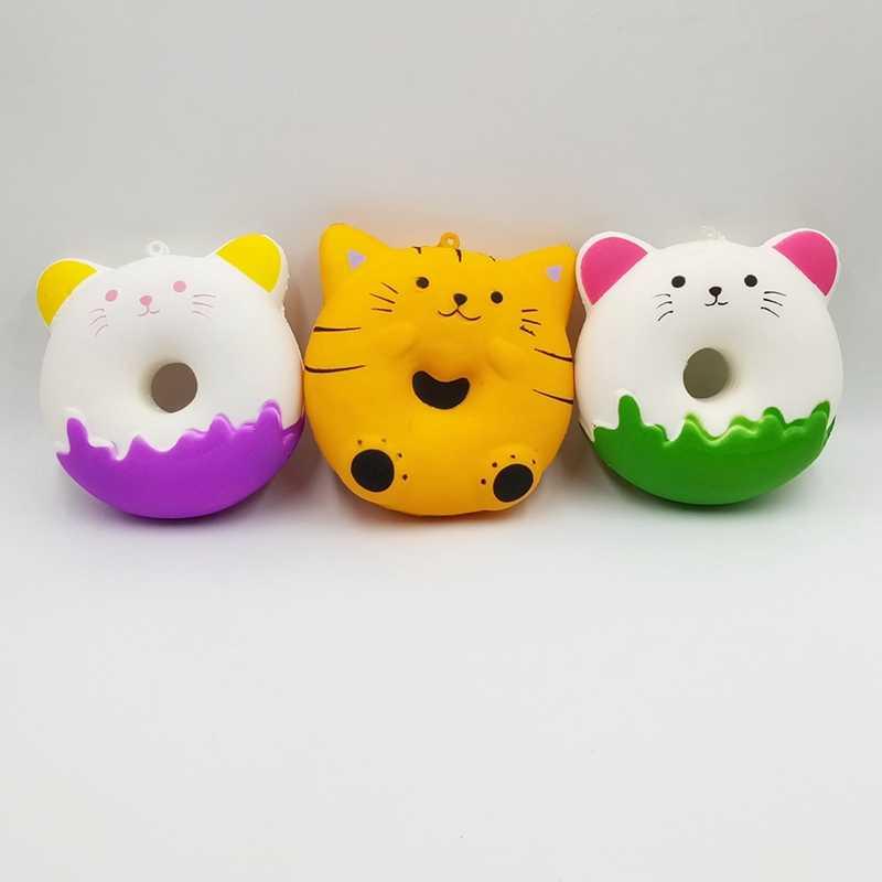 Unicórnio Squishy Lento Subindo Antistress PU Simulação Gato Rosquinha Squishi Anti-stress Jokes Novidade Brinquedos Para Crianças Presente de Aniversário