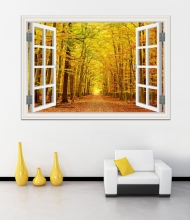 Amazing Forest Tree Landscape 3D Wall Sticker Removable Window View Wallpaper Home Decor