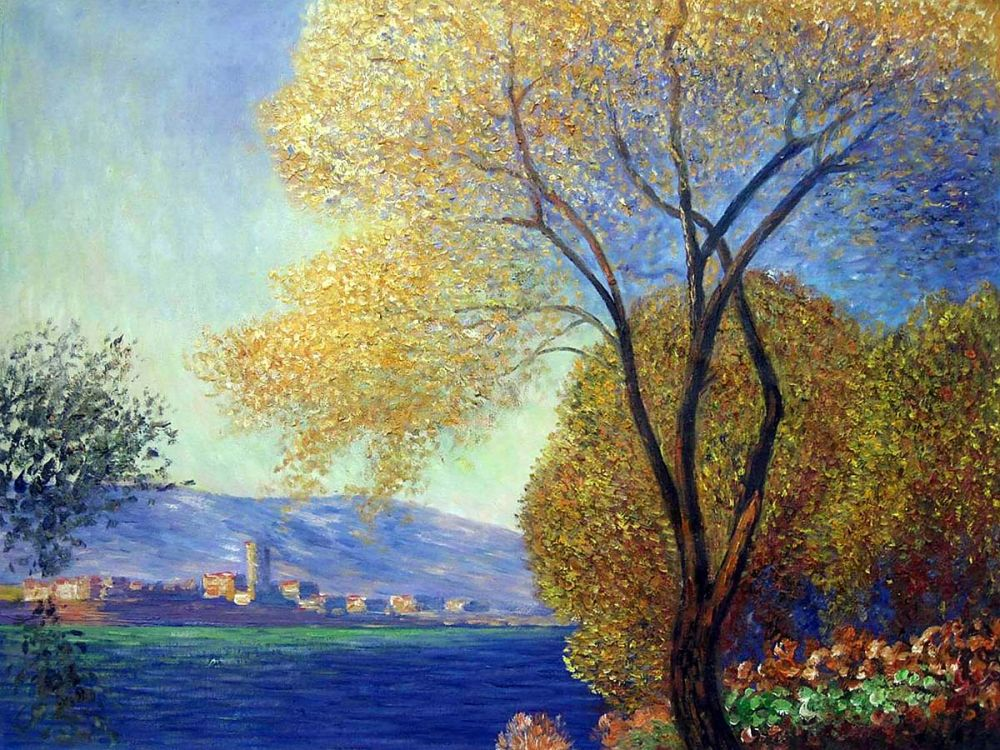 Tree Oil Painting on Canvas Antibes, View of Salis by