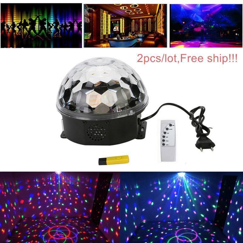 AC85 265V DMX Control Digital LED RGB Crystal Magic Ball Effect Light for Stage Party Disco DJ Bar Lighting 2pcs/lot.Free ship!