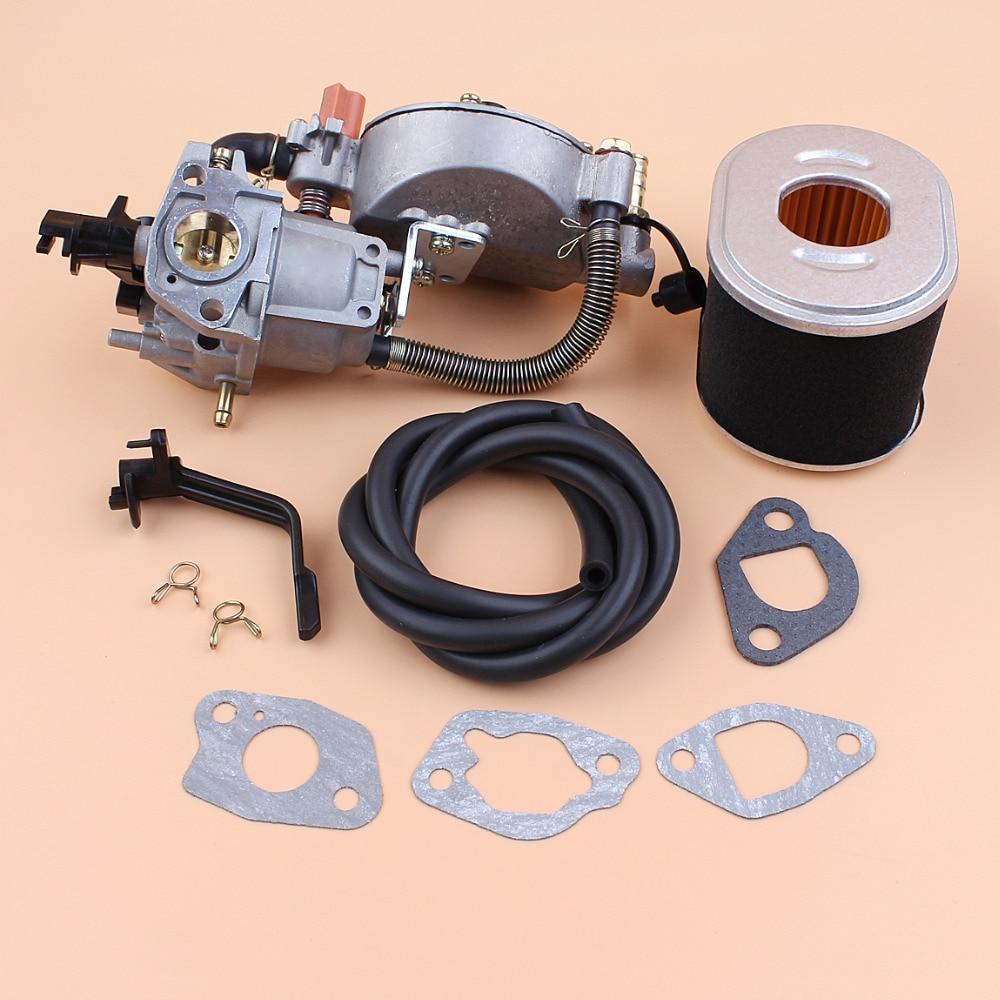 Dual Fuel Carburetor Air Filter Fuel Line Kit For HONDA GX160 GX200 168F 170F GX 160 200 Engine 2 3KW Gas Generator Lawnmower