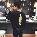 2016 O-neck None Direct Selling Limited Fish Embroidery Sweatshirt Men Fertilizer Plus Code Sweatshirts Round Neck Thin Section
