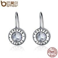 BAMOER Genuine 925 Sterling Silver Family Forever CZ Drop Earrings Women Fashion Fashion Earrings Silver Jewelry