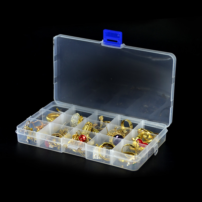 Transparent Adjustable 15 Grids Jewelry Storage Case  Drug Pill Ring Earring Diamond Coin Organizer Box Plastic Travel Container