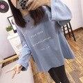 Johnature mulheres camisola tamanho grande 2017 nova primavera moda coreana solta o-pescoço manga longa carta impressão 6 cores mulheres tops