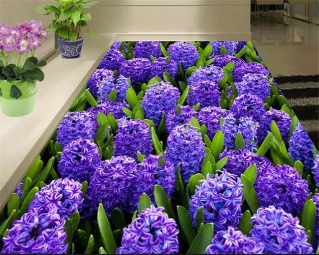 Beibehang decorativi interni 3d carta da parati bella viola giacinto